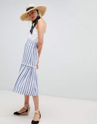 Warehouse midi skirt in stripe