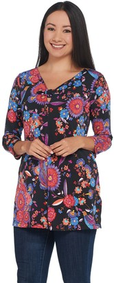 Women With Control Attitudes by Renee Como Jersey 3/4 Sleeve Printed Tie Front Tunic