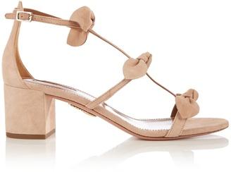 AQUAZZURA St. Tropez bow-embellished suede sandals $750 thestylecure.com