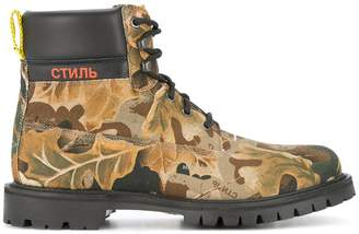 Heron Preston camouflage print boots