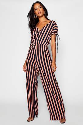 boohoo Tall Wrap Front Strip Wide Leg Jumpsuit