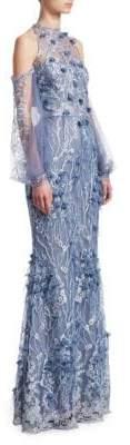David Meister Floral Cold-Shoulder Gown