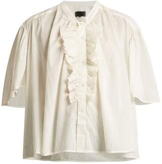 Nili Lotan Rita ruffle-front cotton blouse