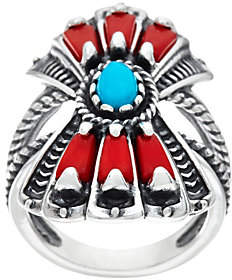 American WestSterling Silver Red Coral and Turquoise Fan Ring by American West