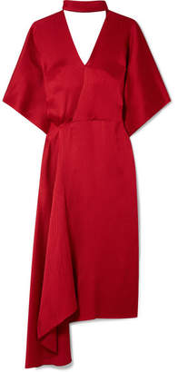 Roland Mouret Meyers Wrap-effect Asymmetric Hammered Silk-satin Midi Dress - Claret