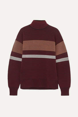 Nagnata Striped Ribbed-knit Organic Cotton Turtleneck Sweater