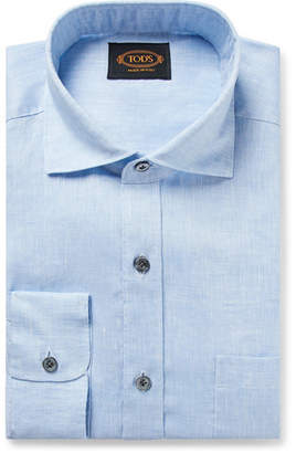 Light-Blue Melange Linen Shirt
