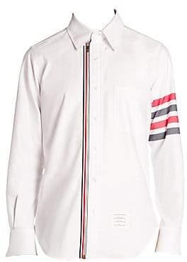 Thom Browne Men's Stripe-Trim Zip Front Button Down Shirt