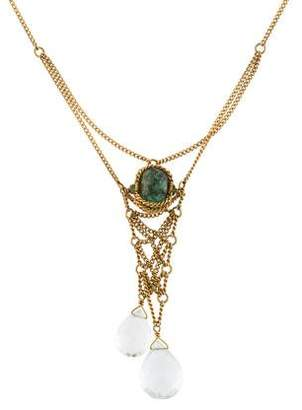 18K Tourmaline & Aquamarine Pendant Necklace