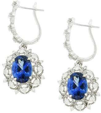 14K White Gold with 4.25ctw Cobalt Coated Tanzanite and 0.71ctw Diamond Earrings