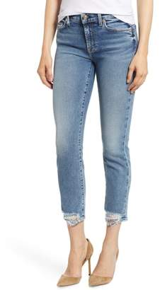 7 For All Mankind Luxe Vintage Roxanne Rip Hem Ankle Slim Jeans