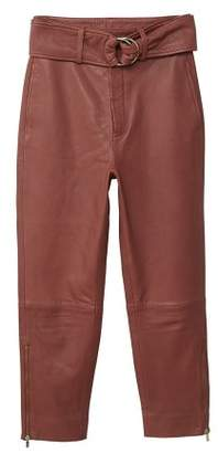 MANGO Leather crop trousers