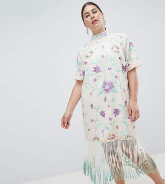 Asos DESIGN Curve embroidered midi dress with tie dye fringe