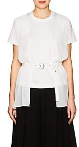 Noir Kei Ninomiya Women's Georgette-Layered Belted Cotton T-Shirt - White