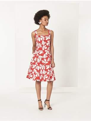 Oscar de la Renta Carnelian With White Tossed Seaweed Stretch-Cotton Dress