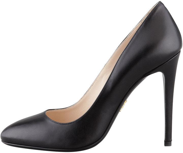 Prada Round-Toe Leather Pump, Black