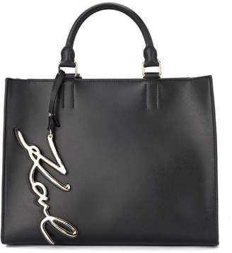 Karl Lagerfeld Signature Black Leather Handbag