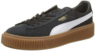 Puma Women's Basket Platform Perf Gum Trainers Black White-Gold