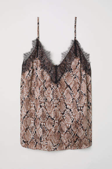 H&M - Satin and Lace Camisole Top - Brown