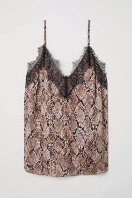 H&M Satin and Lace Camisole Top - Brown