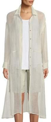 Eileen Fisher Organic Linen-Blend Button-Front Duster