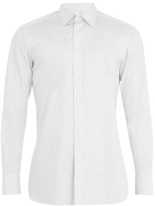 Kilgour - Single Cuff Basket Weave Cotton Shirt - Mens - White