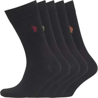 U.S. Polo Assn. Mens Five Pack Socks Black