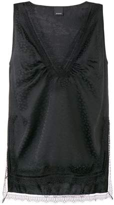 Pinko lace trim sleeveless blouse