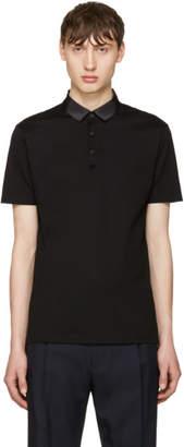 Lanvin Black Grosgrain Collar Polo
