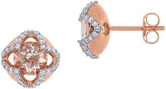 Concerto 10K Rose Gold, Morganite 0.25 CT. T.W. Diamond Quatrefoil Stud Earrings