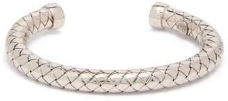 Bottega Veneta Intrecciato Engraved Silver Bracelet - Womens - Silver