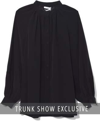 Co Shirred Neck Buttondown Blouse in Black TS