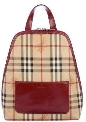 Burberry Leather-Trimmed Haymarket Check Backpack 221c5a4504b59