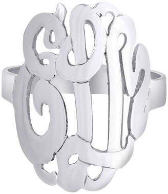 Initial Reaction Sterling Silver Monogram Script Ring