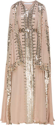 Bthaina Fully Embroidered Tiered Caftan With Cape Sleeves