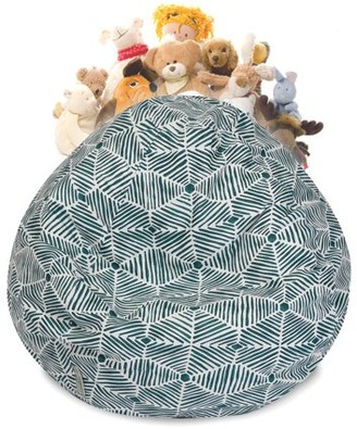 Majestic Home Goods Charlie Stuffed Animal Toy Storage Bean Bag Chair with Transparent Mesh Base