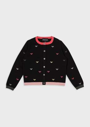 Emporio Armani Cardigan With All-Over Embroidered Eagles