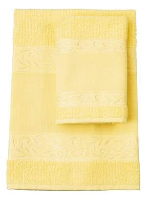 Filet (Fim2a) Filet - Towel Set with 100% Cotton Terry Towelling in Plain Colour with Embroidered Aida Fabric Insert - Yellow