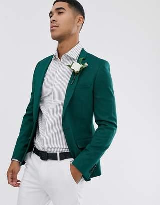 Asos Design DESIGN wedding super skinny wool mix blazer in green