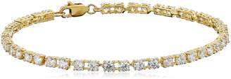 """Amazon Essentials Yellow Gold Plated Sterling Silver Round Cut Cubic Zirconia Tennis Bracelet (3mm), 7.25"""""""