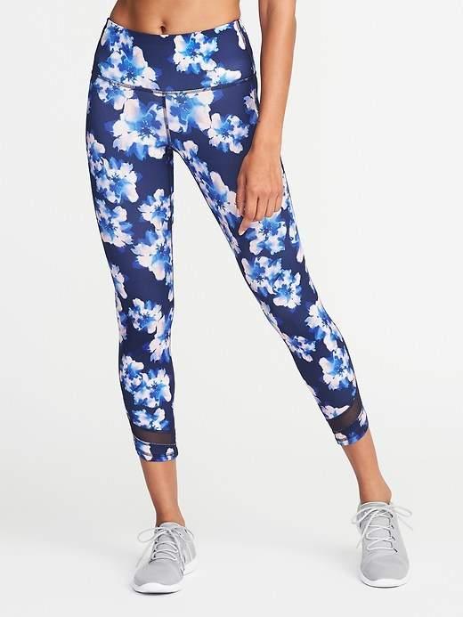 High-Rise 7/8-Length Floral-Print Mesh-Trim Compression Leggings for Women