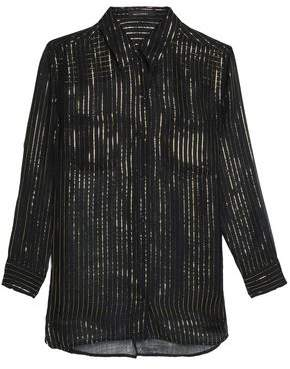 Kate Moss Equipment Striped Metallic Silk Top