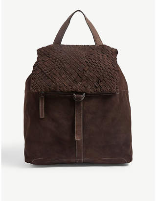 Eleventy Braided flap suede backpack