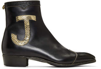 Gucci Black Leather and Lizard Elton John Zip-Up Boots