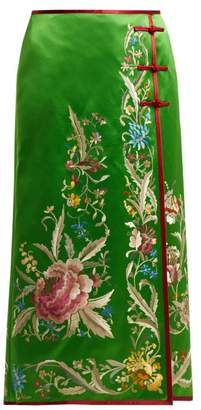 Gucci - Floral Embroidered Silk Satin Skirt - Womens - Green