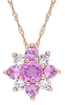 Sonatina Pink, White Sapphire & 14K Rose Gold Cluster Floral Necklace