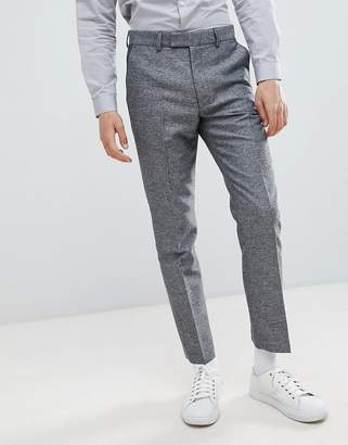 French Connection Slim Fit Gray Herringbone Suit Pants