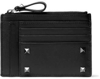 Valentino Rockstud Leather Zipped Cardholder