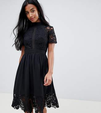 8c3451eb7193 Chi Chi London Petite lace detail skater dress in black