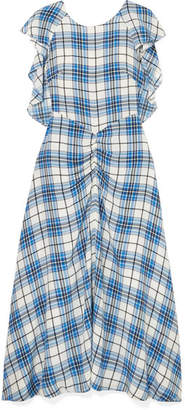 Paper London Dutch Ruched Checked Silk Midi Dress - Blue